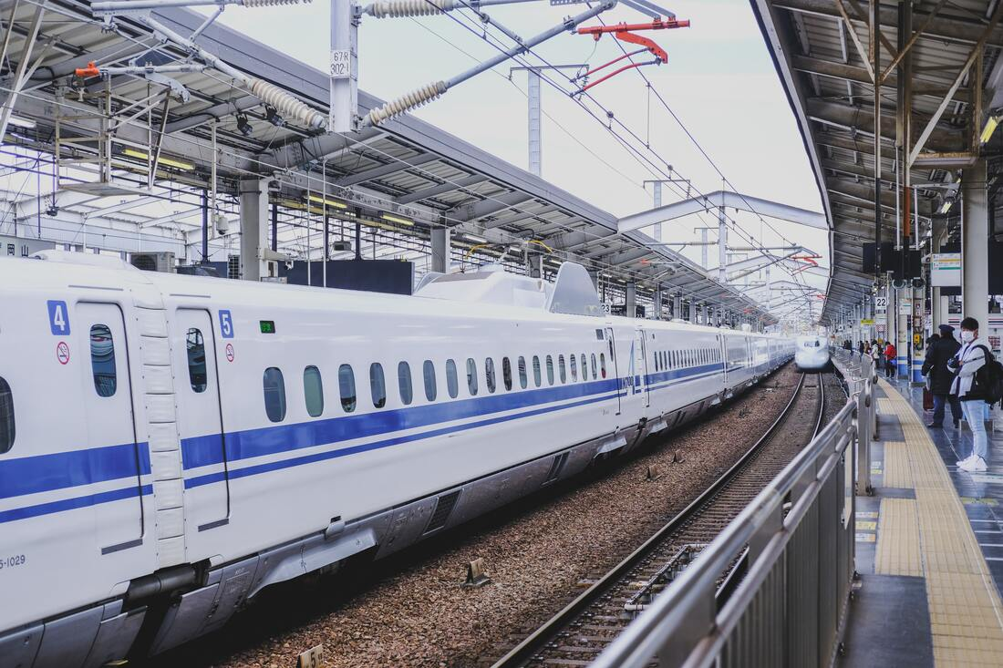Shinkansen trains on a train station